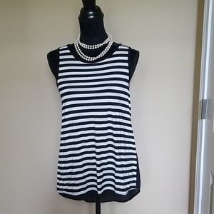 EUC high low sleeveless top with knit front